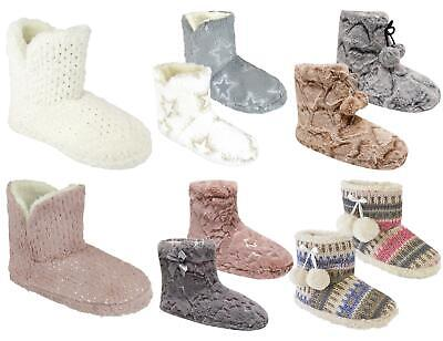 Womens Ladies Soft Warm Comfy Fleece Lined Bootie Boot Slippers UK Size 3-8 • 11.99£