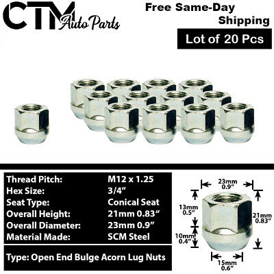$13.99 • Buy 20 Pc Chrome 12x1.25 Open End Wheel Lug Nuts Fit Nissa Infiniti Subaru And More