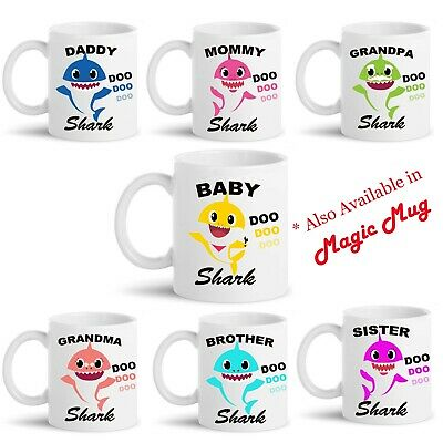 Personalised Mug Baby Shark Do Do Funny Tea Coffee Novelty Family Xmas Gift Idea • 9.49£