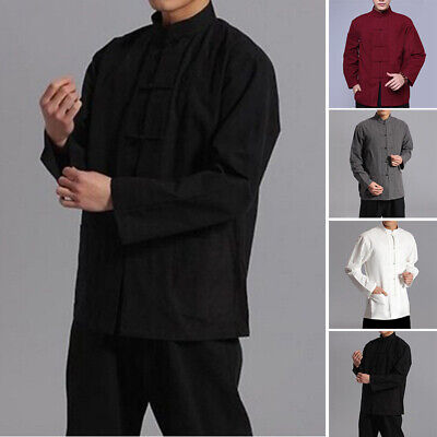 Chinese Style Men Shirt Kung Fu Traditional Cotton Linen Tops Sale Comfort • 11.15£