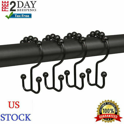 Metal Double Roller Glide Shower Curtain Ring/Hooks Oil Rubbed Bronze, Set Of 12 • 13.94$