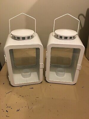 $35 • Buy IKEA Vinter 2018 Lantern For Tealight White Metal Candle Holder Lot Of 2
