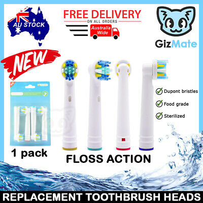 AU5.90 • Buy 4pcs FLOSS ACTION Replacement Brush Heads For Oral-B Braun Electric Toothbrushes