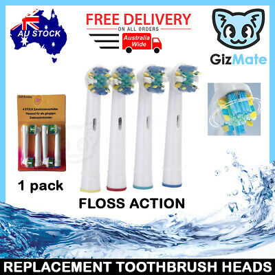 AU5.45 • Buy NEW 4pcs FLOSS ACTION Replacement Brush Heads For Oral-B Electric Toothbrushes