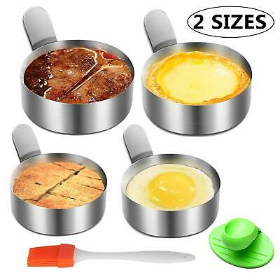 $16.79 • Buy Stainless Steel Egg Frying Ring Mold Non-Stick, Oven Glove, And Silicone Brush