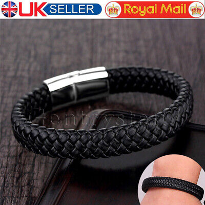 Mens Leather Braided Wristband Bracelet Stainless Steel Magnetic Clasp UK Seller • 4.89£