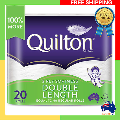 AU29.79 • Buy Toilet Paper 20 Rolls Deluxe Quilton 3 Ply Double Length Large Roll Tissue Bulk