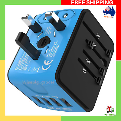AU25.79 • Buy JOLLYFIT International Universal Travel Adapter 4 USB 2.4A Charger AC Power Blue