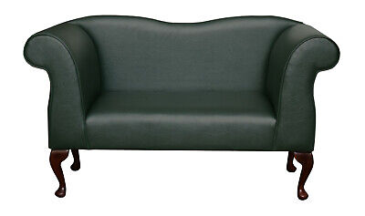 49  Small Double Ended Chaise Longue Lounge Sofa Bottle Green Faux Leather UK • 319£