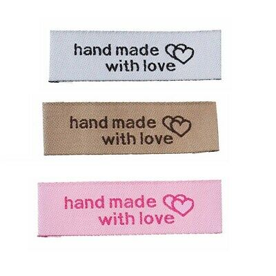 Woven Labels HAND MADE WITH LOVE Sew On Garment Clothing Label Tags 50x15mm • 1.50£
