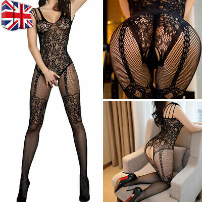 Women Lace Mesh Crotchless Full Body Stocking Clothing Lingerie Jumpsuit Suits • 5.47£