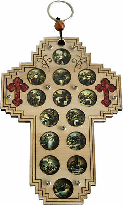 Three Layers With Enameled Medals Showing 14 Stations Of The Cross And 2 Small • 16.13£