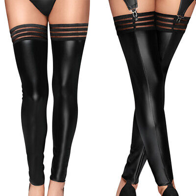 Sexy Women PU Leather Stockings Long Wet-look Erotic Clubwear Party Fancy Tights • 7.30£