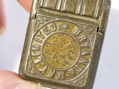 Antique TIN  Advertising Vesta Case Wax Matches Box Bryant & May Limited #V55 • 49£
