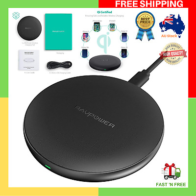 AU19.49 • Buy Ultra Safe RAVPower Wireless Charger IPhone X 8 Plus + Galaxy S9 S8 Qi Devices