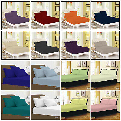 EXTRA DEEP 40CM Fitted Sheet Single Double Super King Bed Size OR Pillow Cases • 6.39£