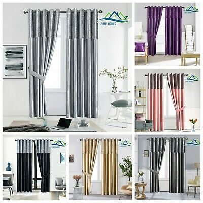 Crushed Velvet Band Curtains PAIR Eyelet Faux Silk Fully Lined Ring Top UK Sizes • 28.92£
