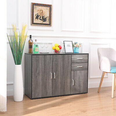 Sideboard Cabinet Cupboard Unit Storage Furniture With Drawers & Doors Grey • 87.99£