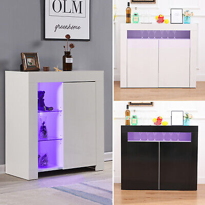 Morden High Gloss Sideboard Cabinet Cupboard Buffet Storage Furniture LED Lights • 90.99£