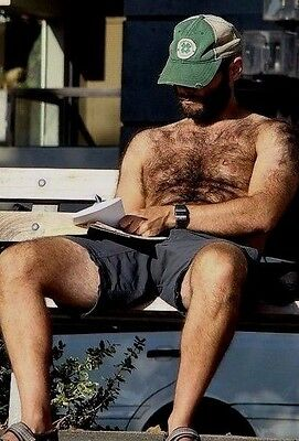 $ CDN4.26 • Buy Shirtless Male Beefy Hairy Dude In Shorts On Park Bench W/ Beard PHOTO 4X6 D1143