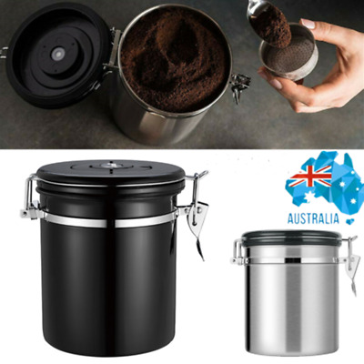 AU29.37 • Buy 1.8L Coffee Canister Airtight Storage Bean Kitchen One-way Valve Stainless Can