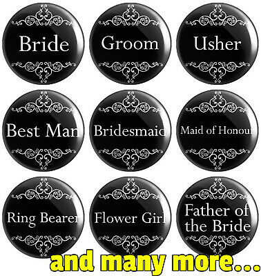 Wedding - Various Designs - Black - BUTTON PIN BADGE 25mm 1 INCH | Stag Hen Do • 0.99£