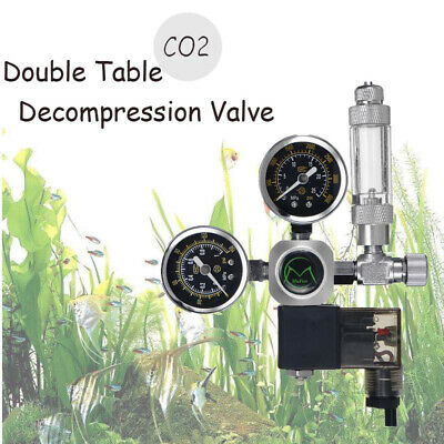 1× Dual Gauge CO2 Pressure Regulator Bubble Counter Solenoid Valve Aquarium Tool • 33.80£