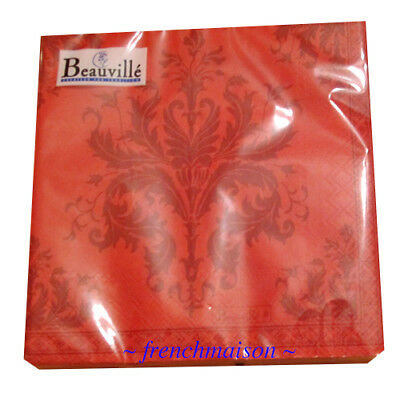 3 Pak BEAUVILLE Luxury PAPER NAPKINS French 3-Ply Lunch Picnic Party Topkapi Red • 18.23£