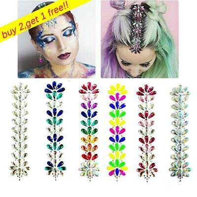Festival Face Body Tattoo Adornment Forehead Gems Stickers Hair Glitter Jewels~ • 4.39£