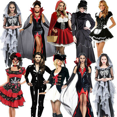 Adult Lady Halloween Costume Vampire Witch Zombie Bride Day Of Dead Fancy Dress • 17.99£