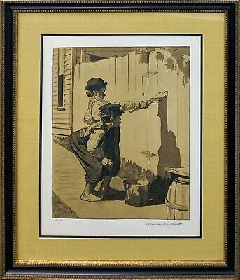 $ CDN2753.47 • Buy Norman Rockwell  White Washing (sepia)  1976 | Hand Signed Print | Tom Sawyer