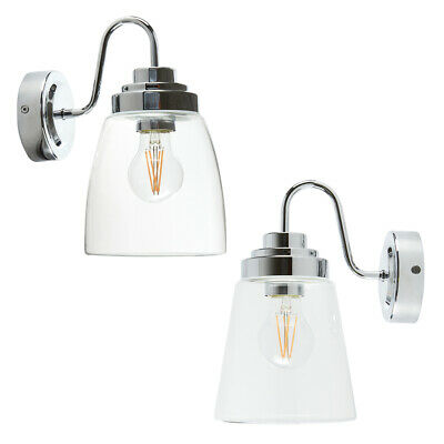 Chrome Swan Neck IP44 Bathroom Wall Lantern Light With Straight Or Curved Glass • 34.99£