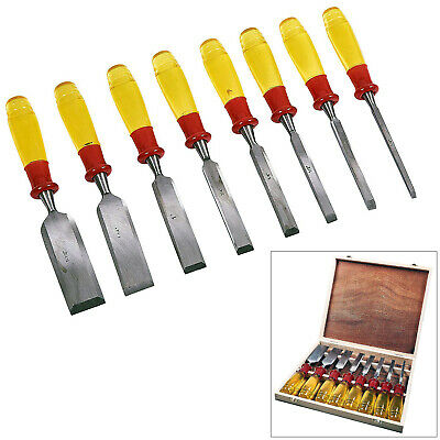 £22.05 • Buy 8pc Wood Chisels Set Split Proof Handles Woodworking Carving Tools + Wooden Case