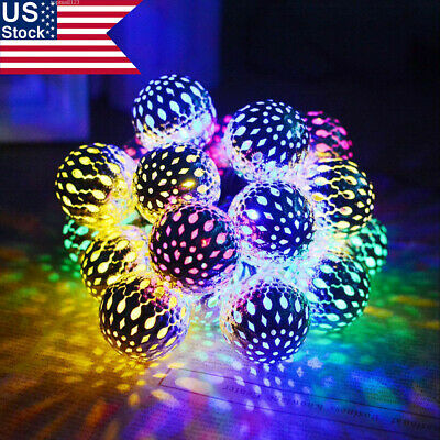 US 20/30/50 Solar String Lights Moroccan Ball Stars Garden Fairy Lamp Waterproof • 13.15$