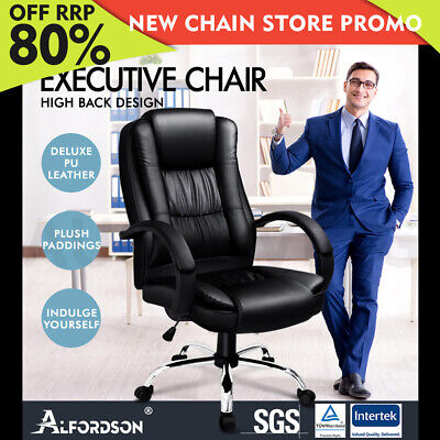 AU149.85 • Buy ALFORDSON Executive Office Chair PU Leather Computer Gaming Racer Black Seat