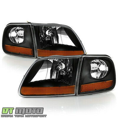 $108.99 • Buy 1997-2003 Ford F150 Black Harley Davidson Style Headlights W/Corner Left+Right