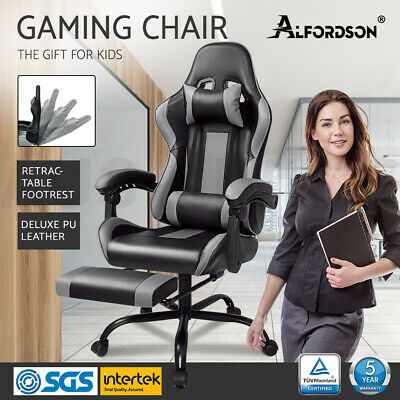 AU149.85 • Buy ALFORDSON Gaming Office Chair Executive Racing Footrest Seat PU Leather Grey