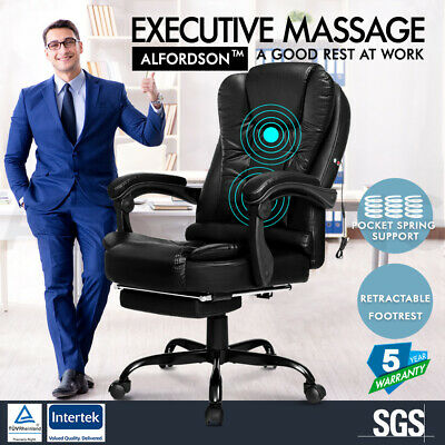 AU139.95 • Buy ALFORDSON Massage Office Chair With Footrest Executive Gaming Seat PU Leather