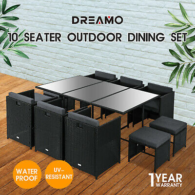 AU809.95 • Buy 11PCS Outdoor Dining Furniture Set Wicker Garden Table & Chairs