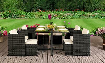 9 Piece Low Back Rattan Garden Cube Set Chairs Sofa Table Outdoor Patio • 999.99£
