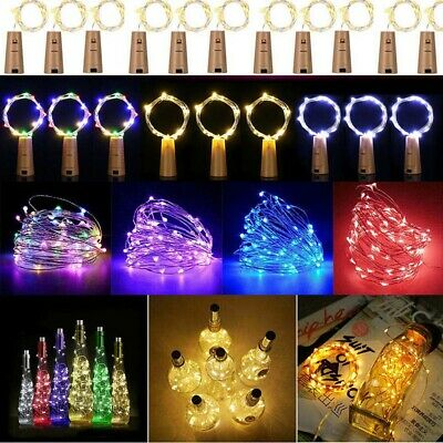 20 LED Wine Bottle String Lights Battery Operated For Home Decoration Metallic • 2.45£