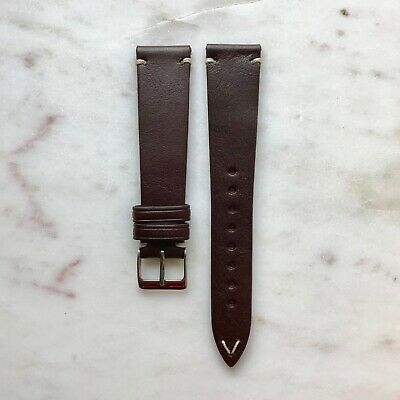 20mm Vintage Style Chocolate Brown Handmade Italian Leather Watch Strap Band • 28£