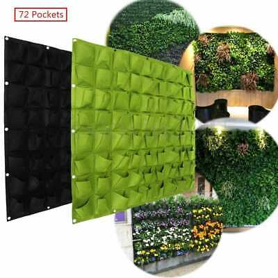 72 Pocket Planting Bag Hanging Wall Vertical Planter Hanging Flower Herb Garden • 9.64£