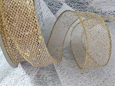 GOLDEN SEQUINS Christmas Mesh Net Web - Luxury Wire Edged Ribbon ** NEW ** • 9.95£