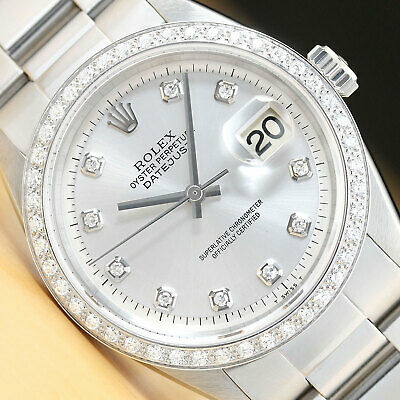 $ CDN6390.07 • Buy Mens Rolex Datejust Silver Diamond 18k White Gold Bezel & Stainless Steel Watch