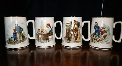 $ CDN7.87 • Buy Set Of (4) Norman Rockwell Museum Coffee Mugs Cups 1985 - Great Condition