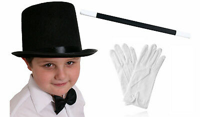 Childs Top Hat White Gloves And Wand Magician Fancy Dress Costume Set Magic Man • 6.99£