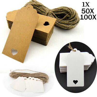 1-100x Kraft Paper Gift Tags Wedding Luggage Card Label Blank With Free String • 2.55£
