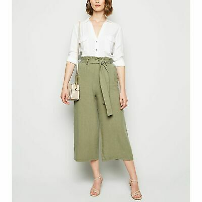 New Look Khaki Linen Look Paperbag Crop Trousers • 7£