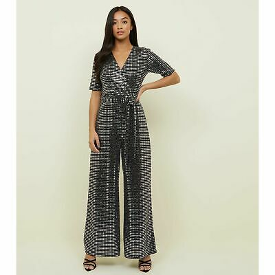 New Look Petite Silver Mirrored Sequin Wrap Jumpsuit • 8£